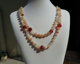 Feldspar and Red Flame Work Glass Necklace