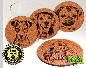 Set of 4X Custom Personalised Laser Engraved Vintage Style Cork All Popular Dog Breed Coasters - Find YOUR Breed