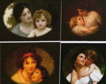 Mother and child, fine art fabric panel, applique piece, cotton fabric block