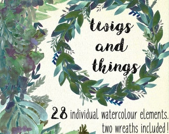 Watercolor clipart - Twigs and Things Greenery Watercolour Clipart and Wreaths.