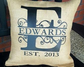 Burlap Pillow with Custom Last Name & Date!