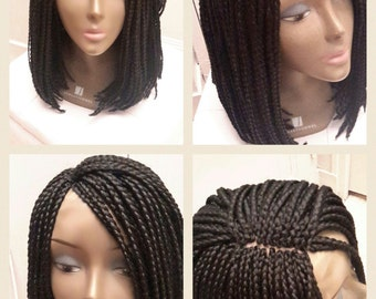 Hand made wig. Small black short braids