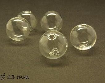 10 beads hollow transparent 13 mm