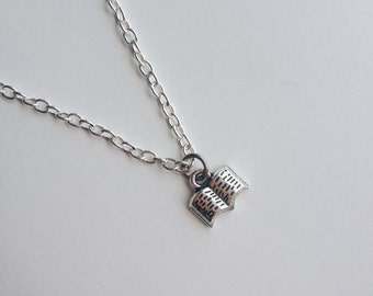 Book Lover's Necklace - Book Worm, modern, delicate, minimalist.