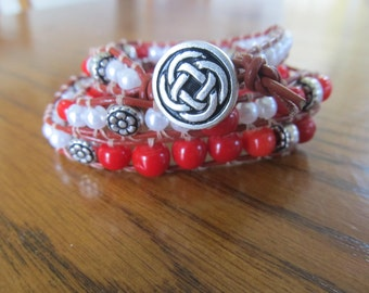 Red and white three-wrap Chan Luu style leather bracelet