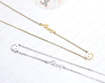 Happy Smile Necklace In Gold / Silver