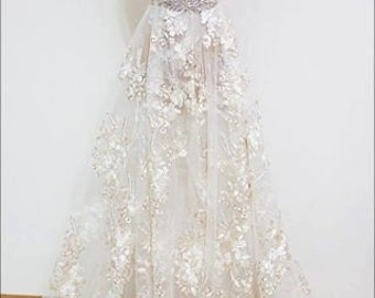 Elegent bridal lace fabric tulle rainstone embroidery lace fabric wedding dress fabric guipure fashion lace