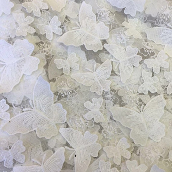Items Similar To Latest Design 3d Butterfly Lace Fabric