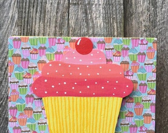 Cupcake 3-D Wooden Sign