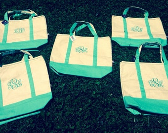 Set of 8 Monogrammed Canvas Tote Bags