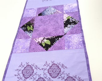 Quilted Table Runner; Machine Embroidered Quilted Purple Table Runner; Purple Table Runner; Purple