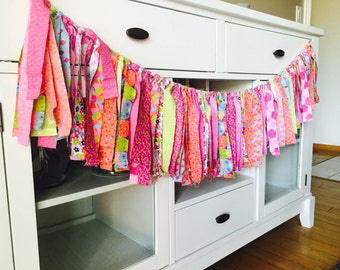 Shabby Chic Fabric Banner - Pink