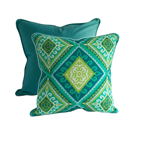 Items similar to MODERN Outdoor PILLOW - Contemporary Style Teal Outdoor Pillow Cover - Outdoor ...