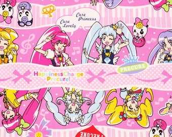Japanese Anime Precure Happiness Charge Character Fabric made in Japan / Half Yard
