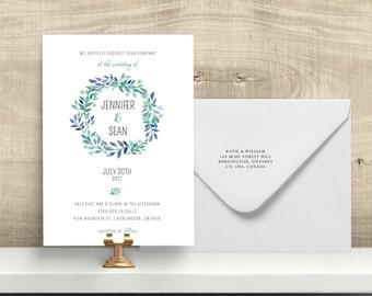 Wedding Invitation,Bridal Invitation, Batcherette, Floral Wreath, Printable, DIY