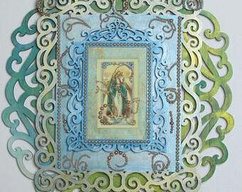 Faux Baroque Green/Blue Virgin Mary