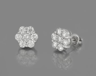 Earrings/rings 14 K white gold with diamonds diamonds 1.60 CT