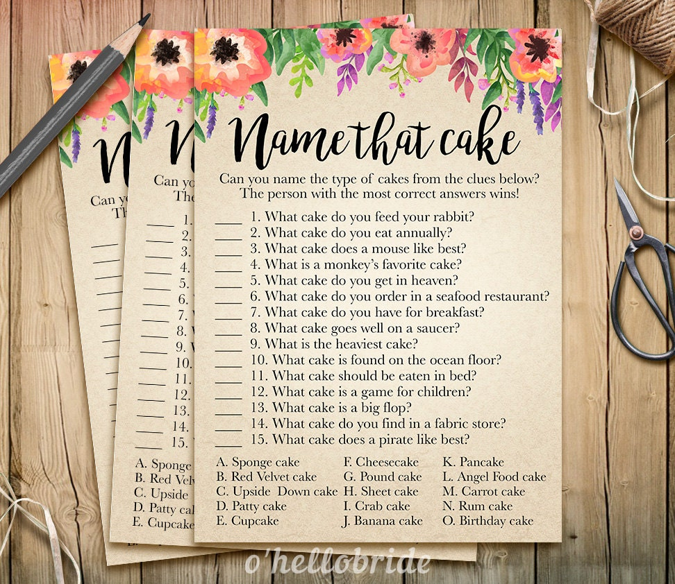 Name That Cake Bridal Shower Game Guess The Cake Printable