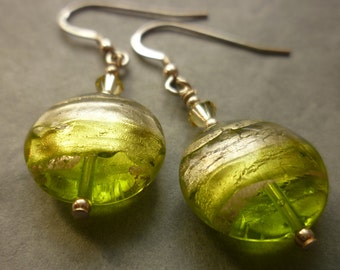 Murano glass earrings - lime green discs with silver striation, sterling silver ear wires