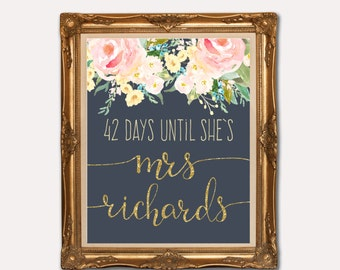 Days til she's a Mrs, Navy Wedding countdown sign, Bridal Shower Sign, Navy pink and gold. glitter