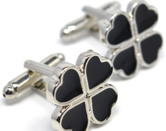 Clover Cufflinks Black Lucky Buttons - Elegant Gift Box