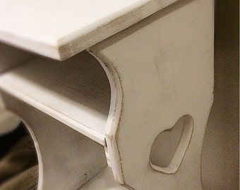 Rustic /Vintage/ White Babyroom /  Nightstand / Farmhouse /Shabby Chic /French Cottage Plantstand