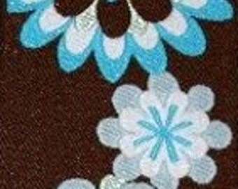 Brown and Blue Flower Jacquard (04-112-FL-049)