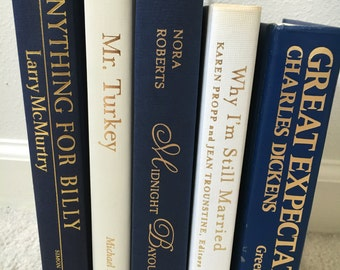 Vintage Books Blue and White