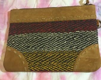Handmade stitched leather purse clutch
