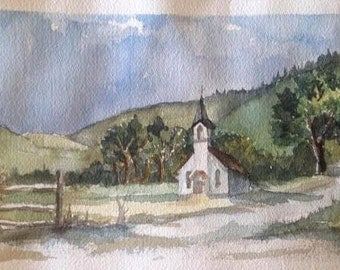 "Original Watercolor, Church Building, ""Faith in the Fields"""