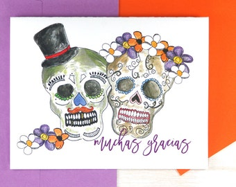 Personalized Stationary Set, Mexican Sugar Skulls Gift, Custom Notecards, Dia de los Muertos, Day of the Dead Wedding Stationery Set of 50