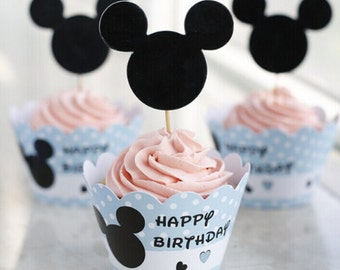 Mickey Mouse Cupcake Wrappers and Toppers-Set of 12