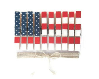 American Flag. Red White and Blue. 4th of July. Decorative Clothespins. Painted Clothespin. Americana. Party Decor. Patriotic. Memorial Day.