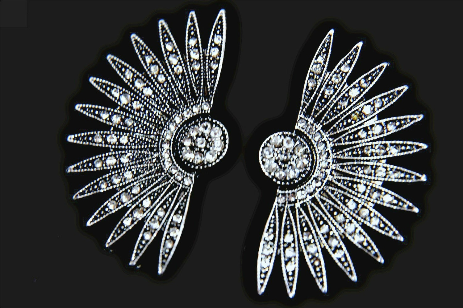 art deco earrings gatsby earrings starburst earrings 1920s