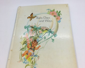 Vintage 'Baby days and ways' record book 1940s baby shower pregnancy new baby birth nursery gift mum mom