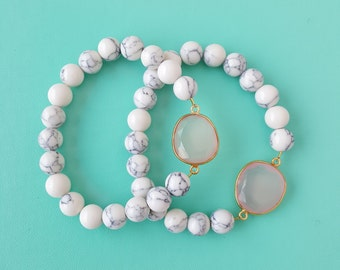 Magnesite and Gemstone Bead Bracelet
