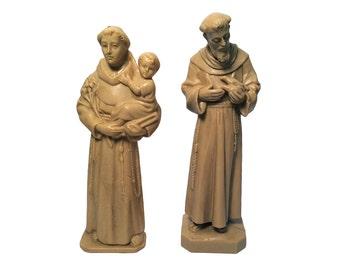 2 Vintage Beige Plastic Resin Catholic Patron Saint Statuette Figurines, St Anthony w/ Baby Jesus & St Francis of Assissi w/ Dove, 1950's