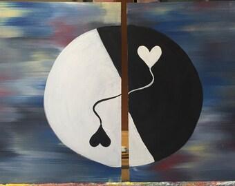 "Yin & Yang acrylic painting on plywood 2 x 10"" x 10"""