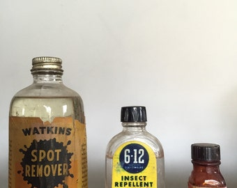 S A L E Instant collection apothecary glass bottles poison bottles pharmaceutical vintage chemicals watkins 6 12 Tincture