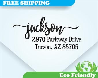 Address Stamp, Self Inking Return Address Stamp, Personalized Address Stamp, Calligraphy, Custom Wedding Stamp  (AD051)