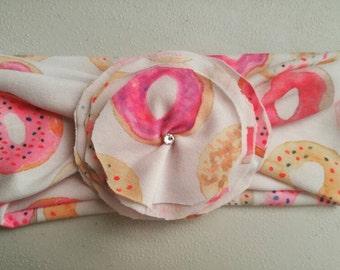 Pastel Donuts Jersey Flower Head Wrap