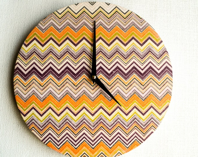 Wall Clock, Orange ornament Wall Clock, Decor and Housewares, Home and Living, Home Decor, Unique Gift