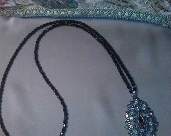 Black Bohemian aurora borealis Crystal Necklace