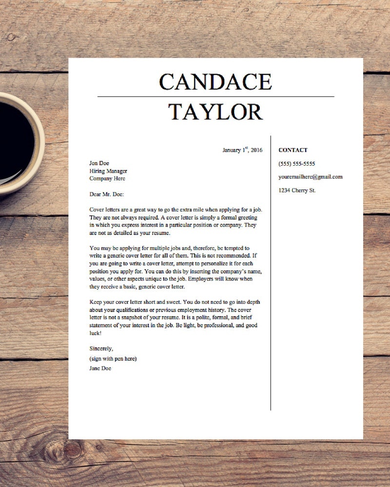 this is a digital file - A Cover Letter