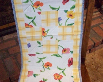 Floral and Yellow Plaid Table Runner