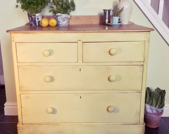 SOLD Handmade Antique Victorian solid pine Chest of Drawers / Dresser