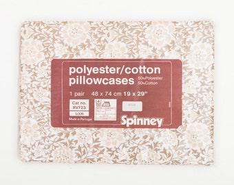 Vintage Brown Floral Pillowcases / Pillow Slips, Unused in Original Packaging, 1970s