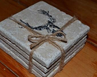 Deer Hand Made Tile Coasters