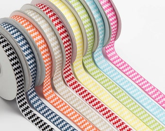 10m Chevron Ribbon - 15mm wide - Double Sided - Wedding and Craft Projects