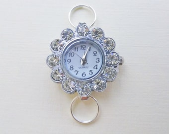 Silver-Plated Strass Watch Face for Handmade Crafting